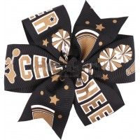 Pinwheel Hair Bow Black and Gold Cheer
