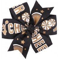 Pinwheel Hair Bow Black and Gold Cheer