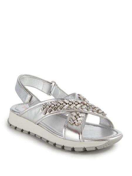 0459c7725ff Prada - Crystal-Embellished Metallic Leather Sandals