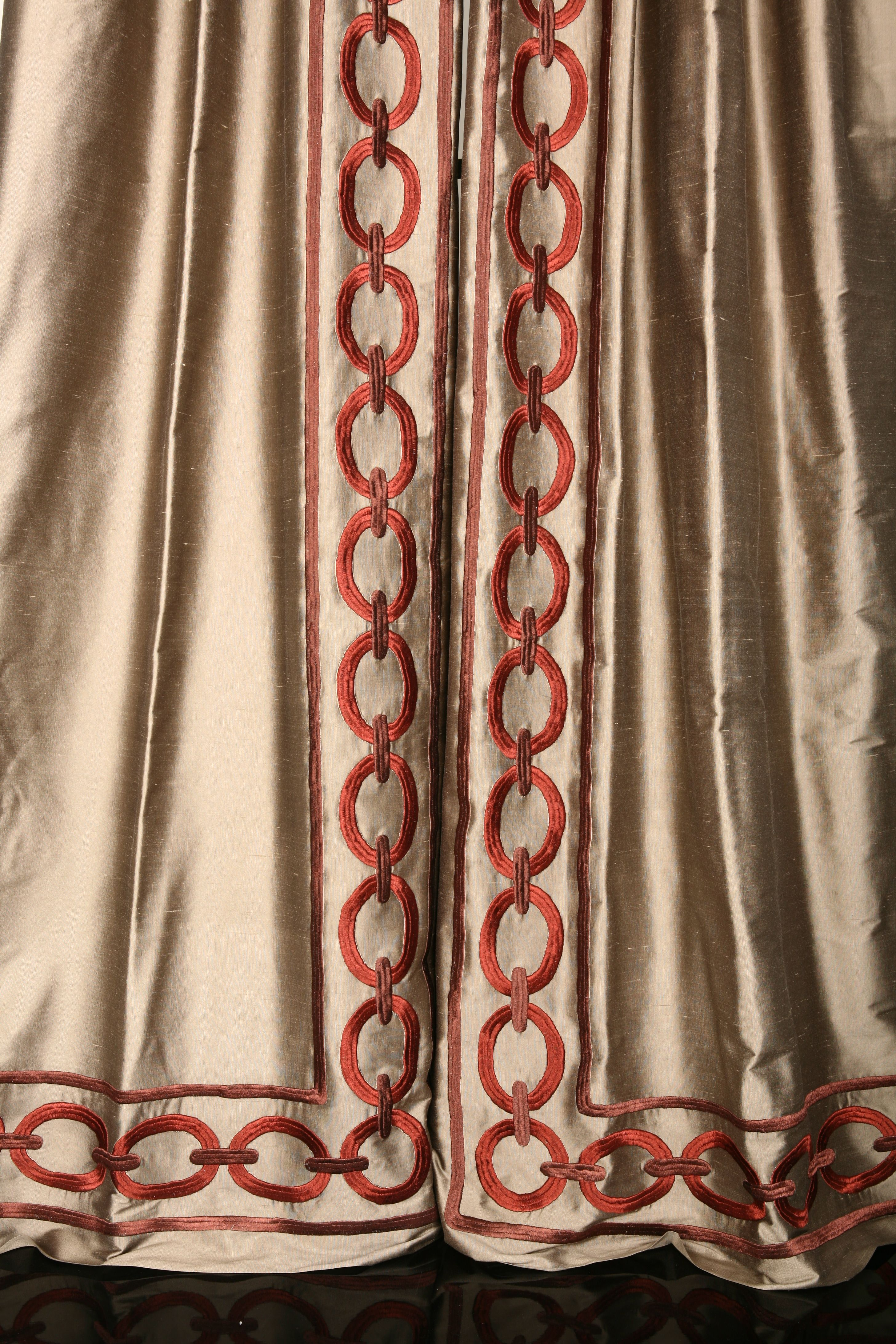 Embroidery Chain Link Design On Leading Edge Of Drapery Window Treatments Curtains