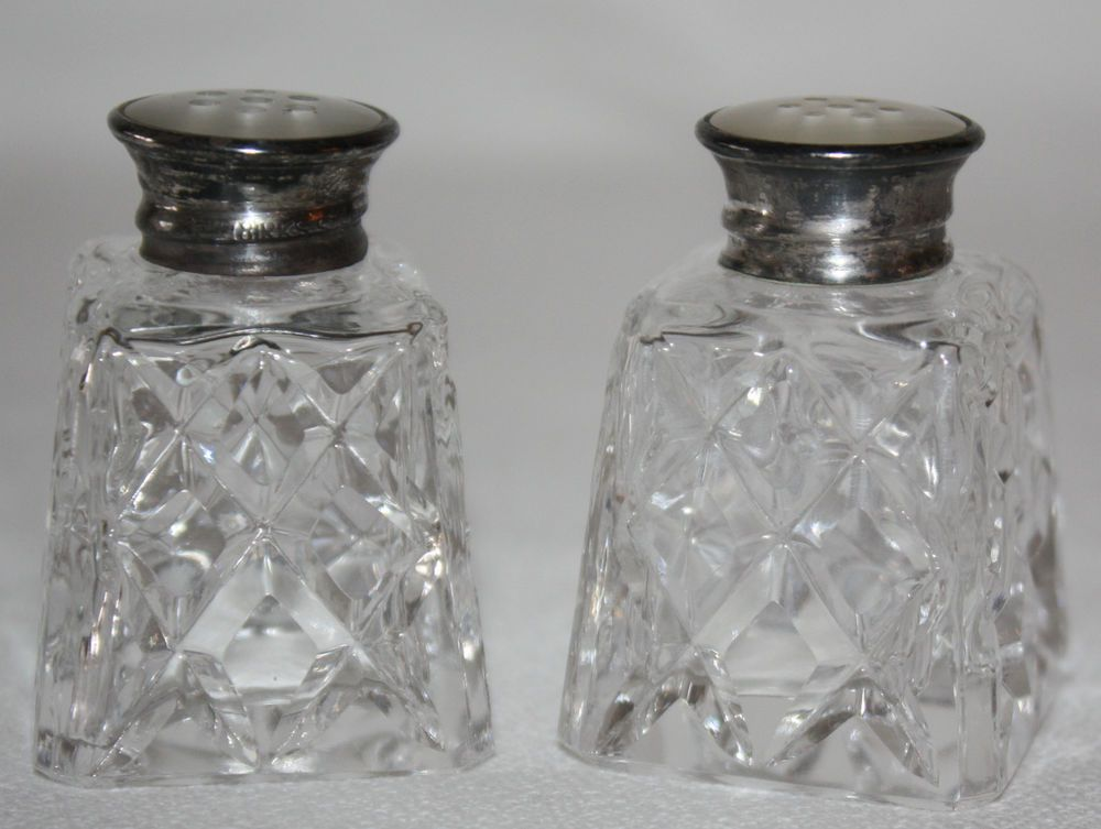 Birks Salt Pepper Shakers Sterling Silver Glass Mother of