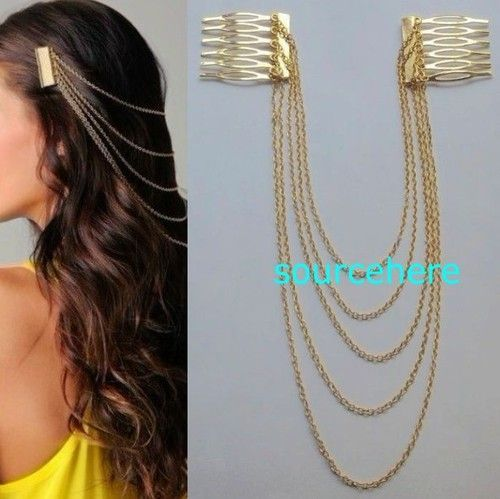 Womens Hair Cuff Chain Head Band Pin Gold Tone Metal Headband Cute ...