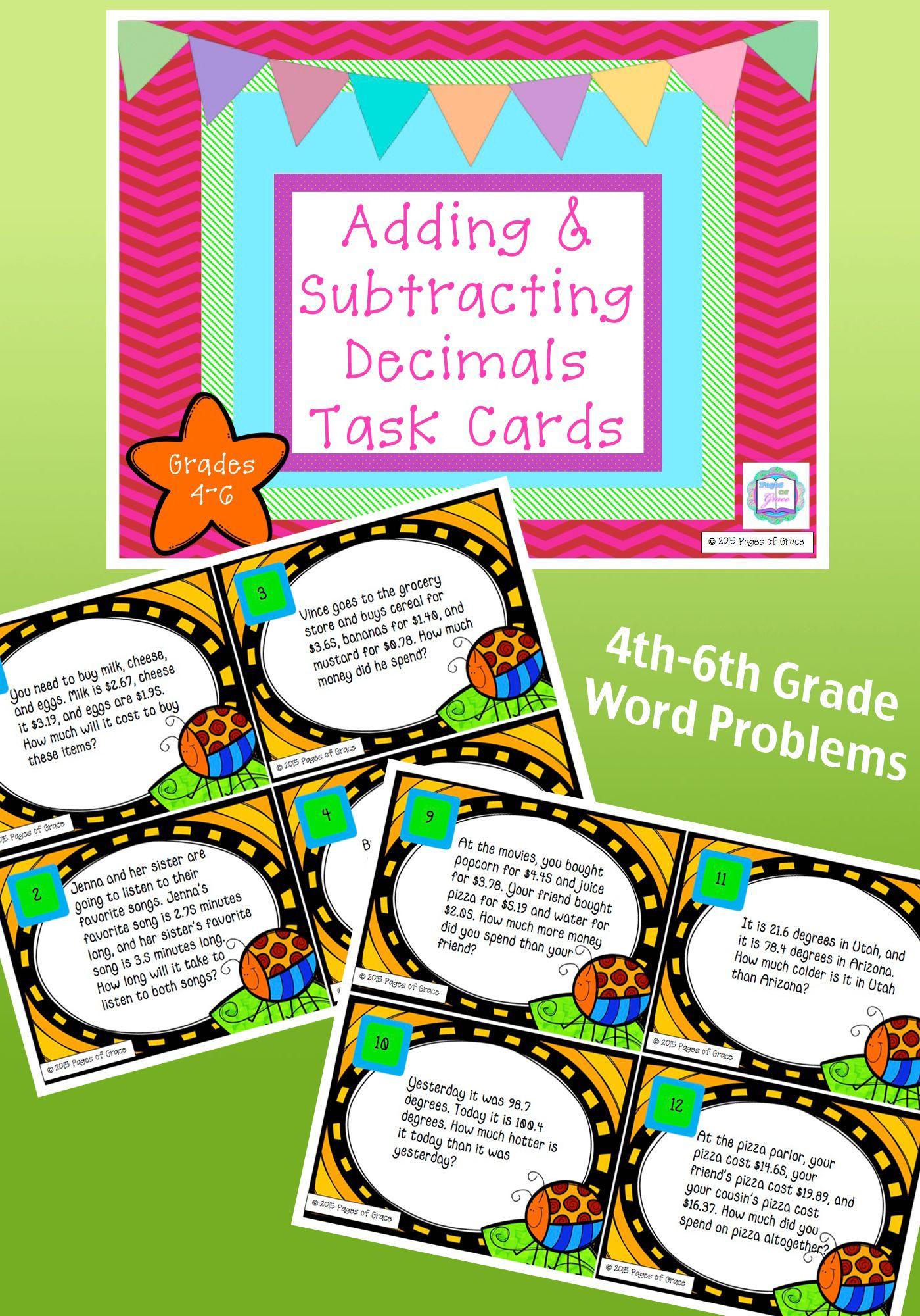 Decimal Addition Amp Subtraction Task Cards