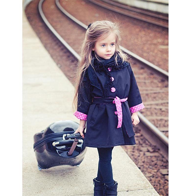Fashion Kids Baby Girls Warm Winter Bowknot Coat Overcoat Outwear Jacket Parka
