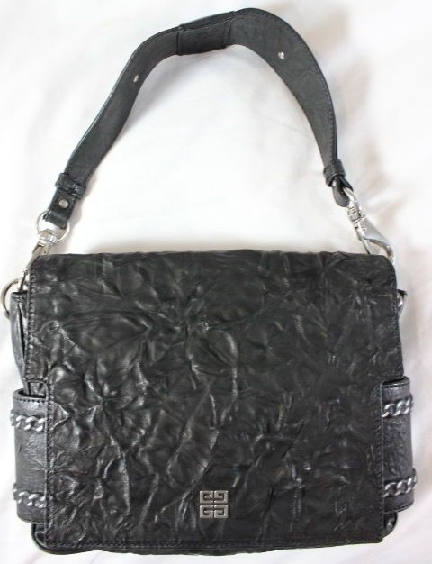 a4b33354fa GIVENCHY BLACK PUCKERED LEATHER