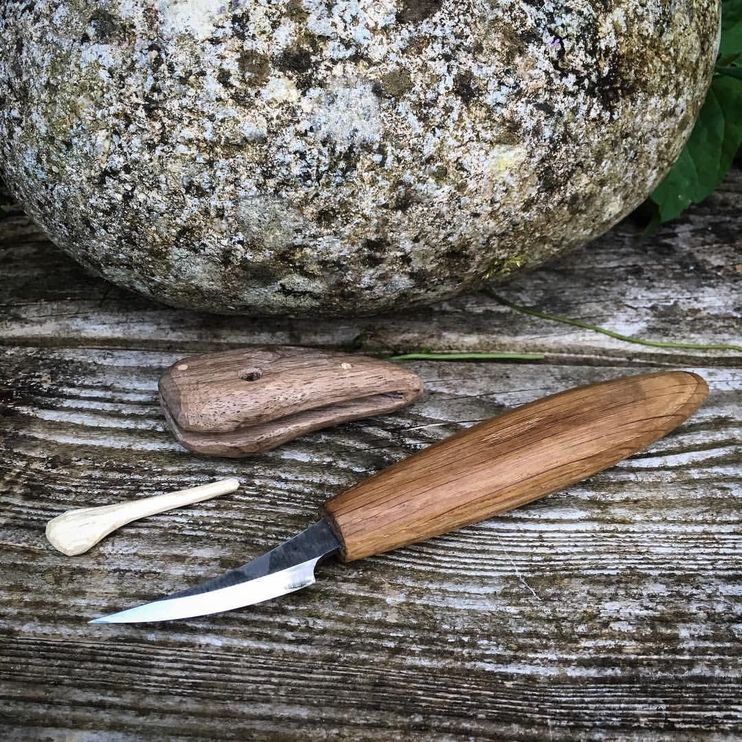 Making A Carving Knife: Whittling Knife With Wooden Sheath Ready To Go. Happy With