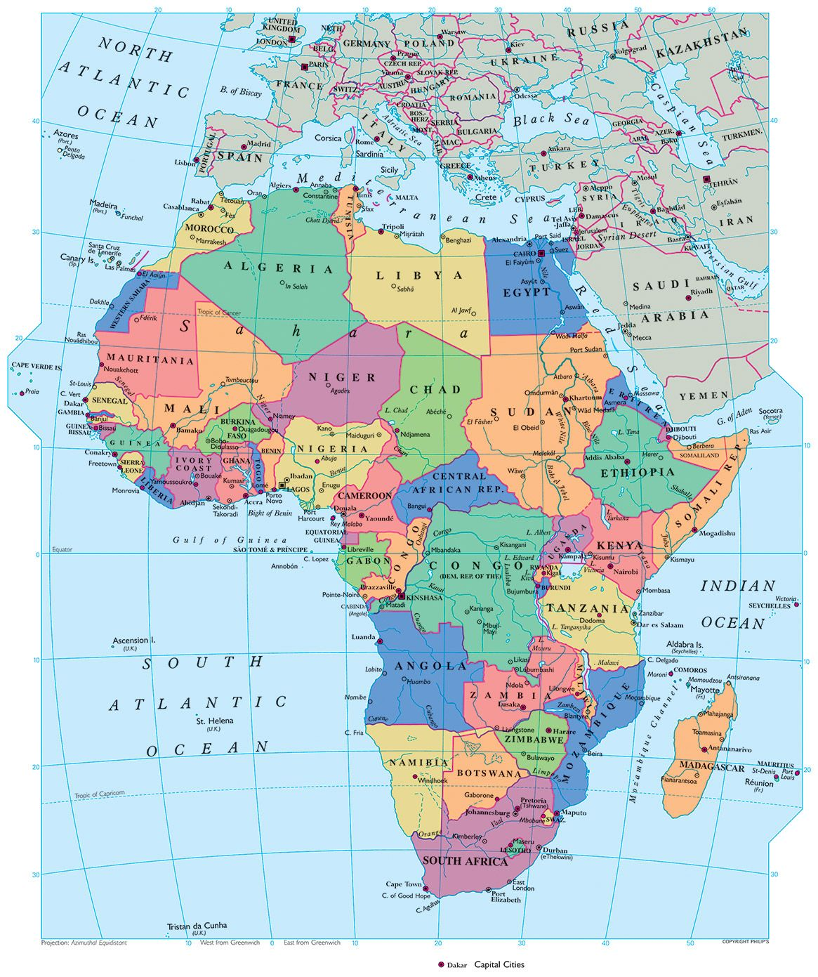africa map showing equator