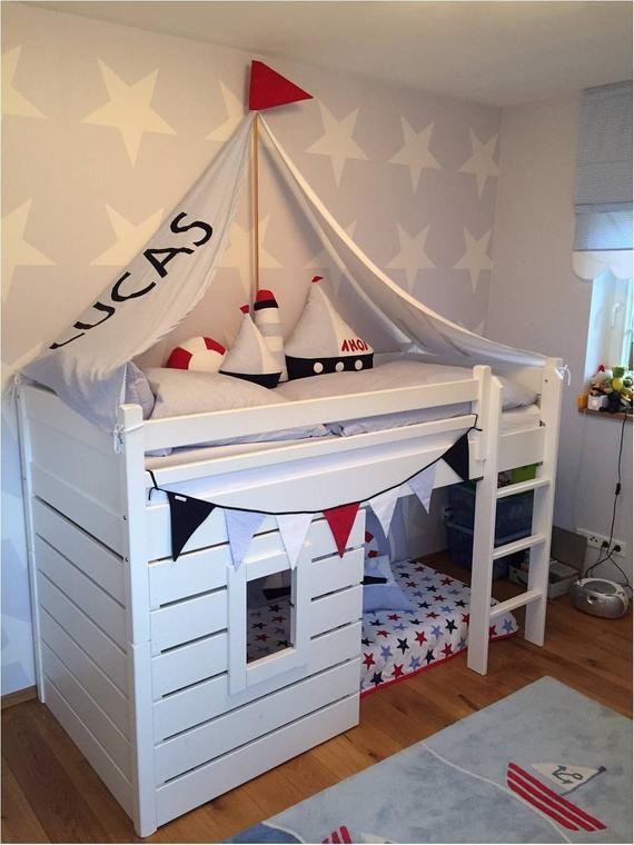 Segel für Kinderbett, maritim, gestreift, Bettsegel