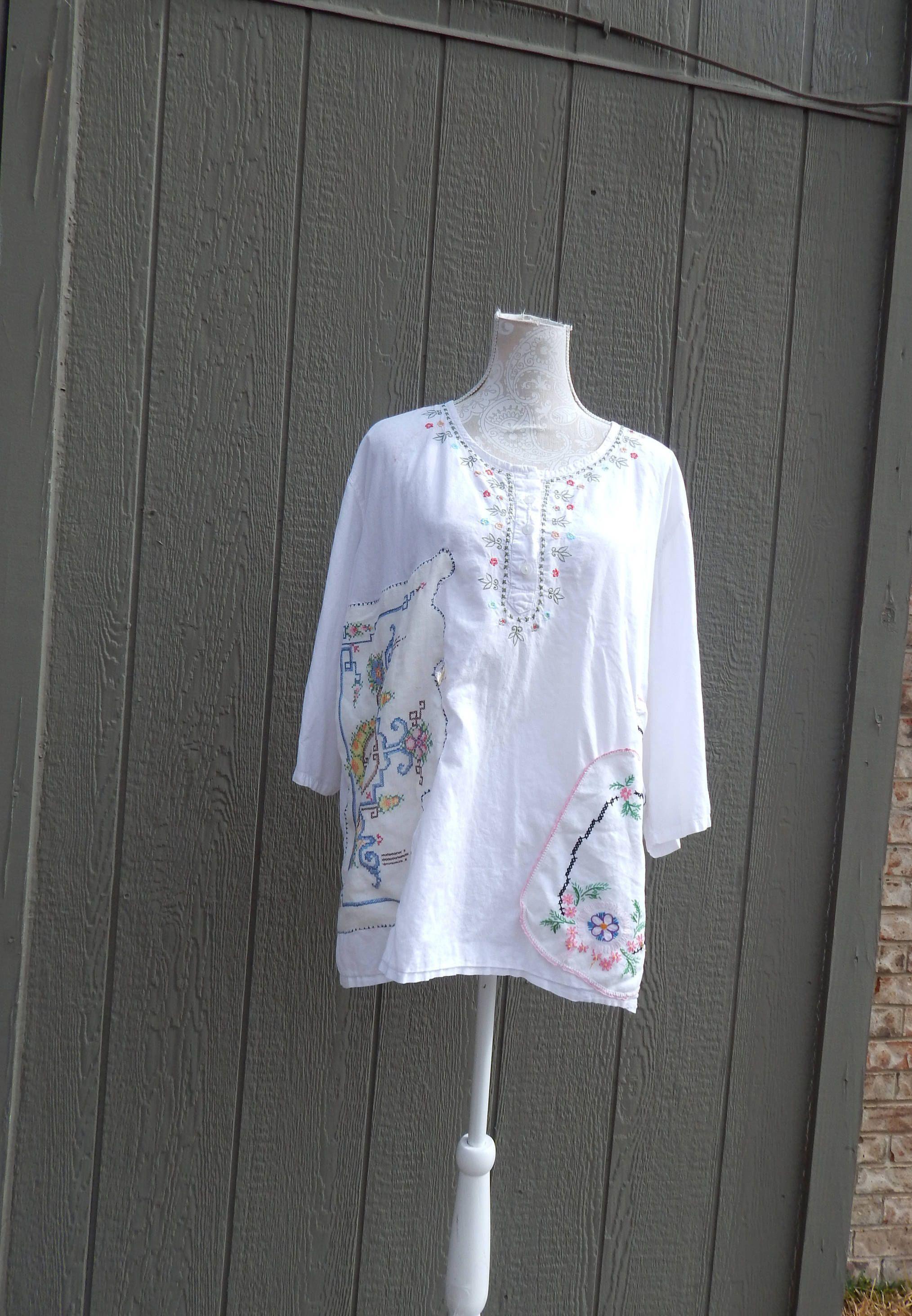 White cotton altered blouse boho style shabby chic romantic