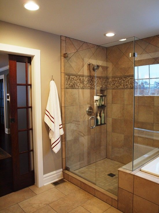 Shower pocket door bathroom small showers design pictures - Small bathroom remodel with tub ...