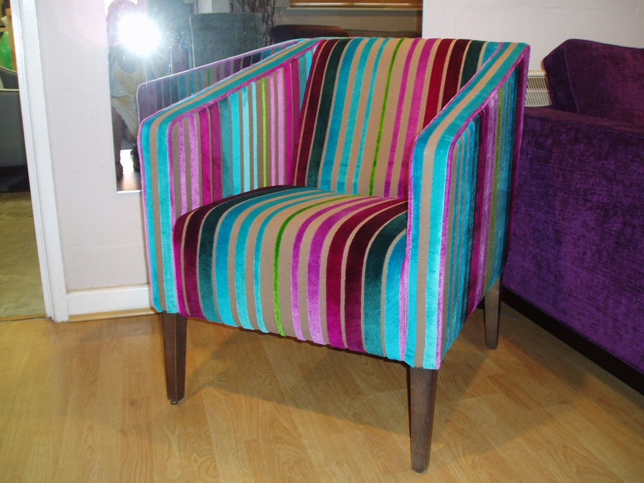 Beau Modern Tub Chair Covered In Designers Guild Moyka   Turquoise.
