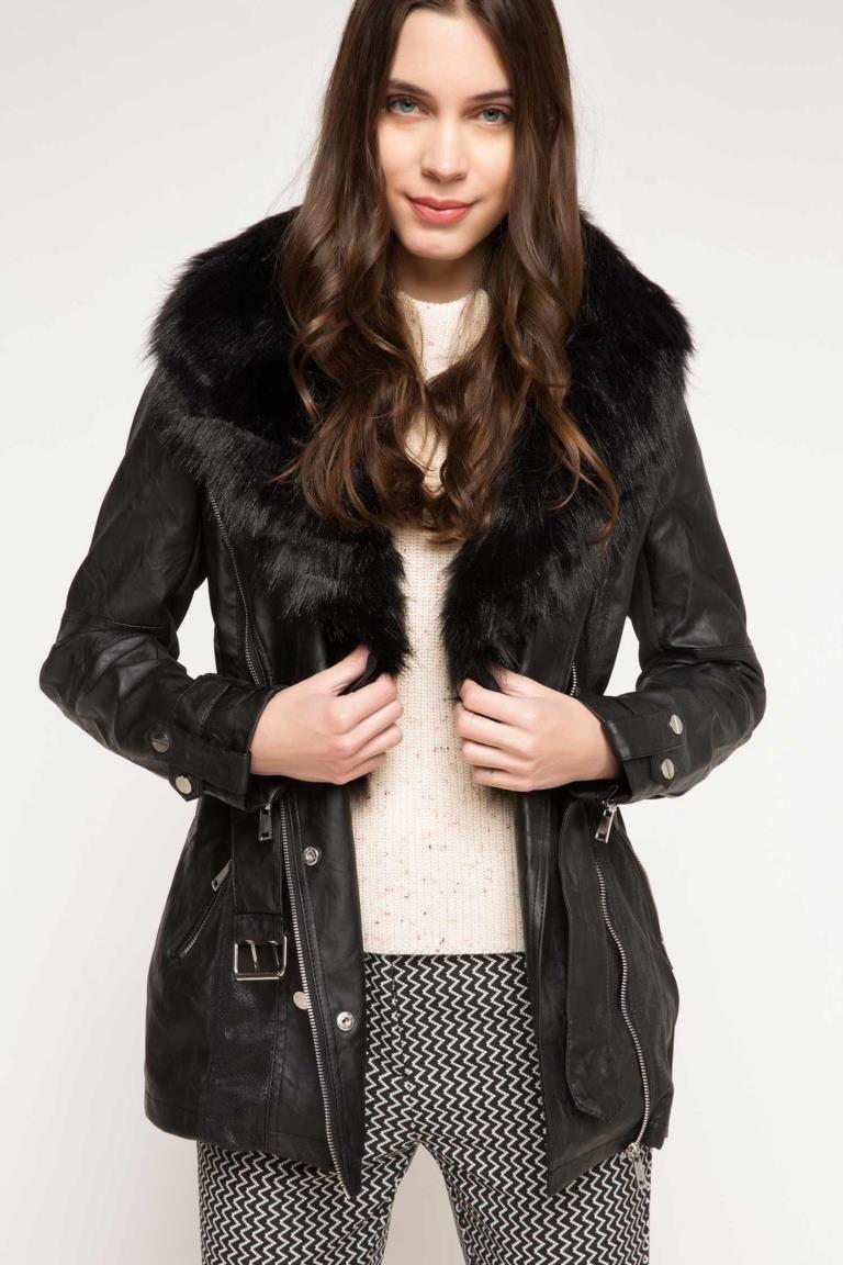 Uzun Suni Deri Ceket Artificial Leather Leather Jacket Black Women