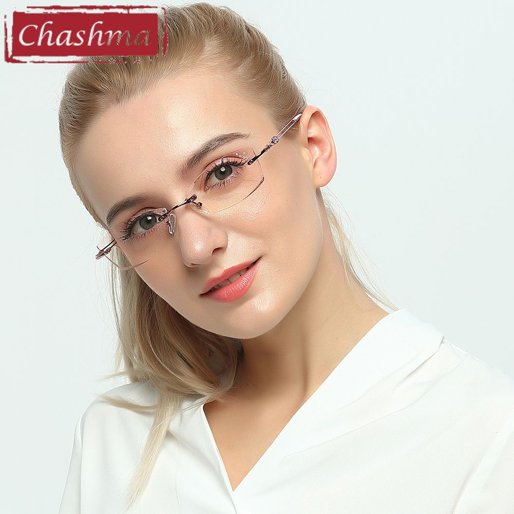 7d1a98e948 Chashma Brand Titanium Fashion Lady Eye Glasses Diamonds Rimless Spectacle  Frames Women Tint Lenses Glasses for Female Review