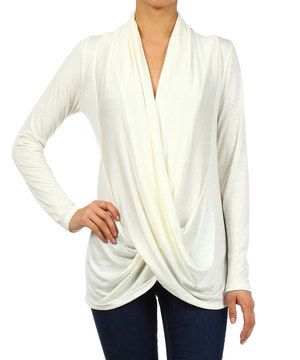 Look at this #zulilyfind! J-MODE Ivory Wrap Top by J-MODE #zulilyfinds