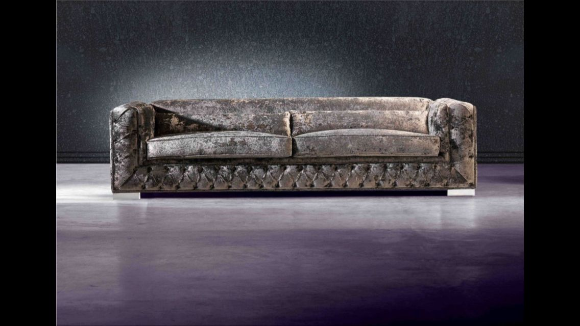 dark couch with smooth cushions  crushed velvet sofa