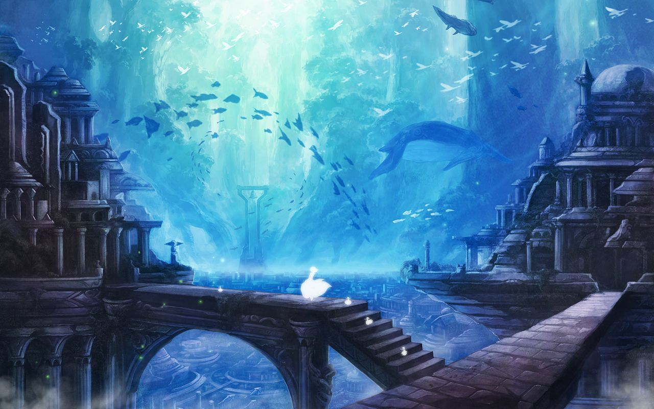 Source The Art Of Wallpapers Fantasy Landscape Underwater City Anime Scenery