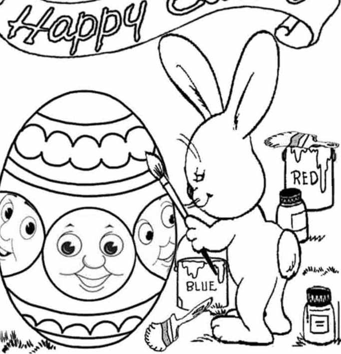 Thomas Very Happy Easter Coloring Page | Bunny coloring ...