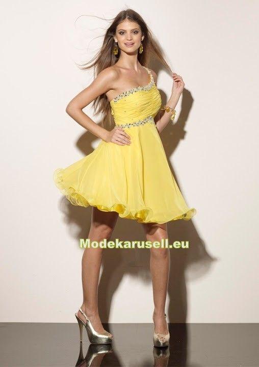 Chiffon One Shoulder Abendkleid Kurz in Gelb