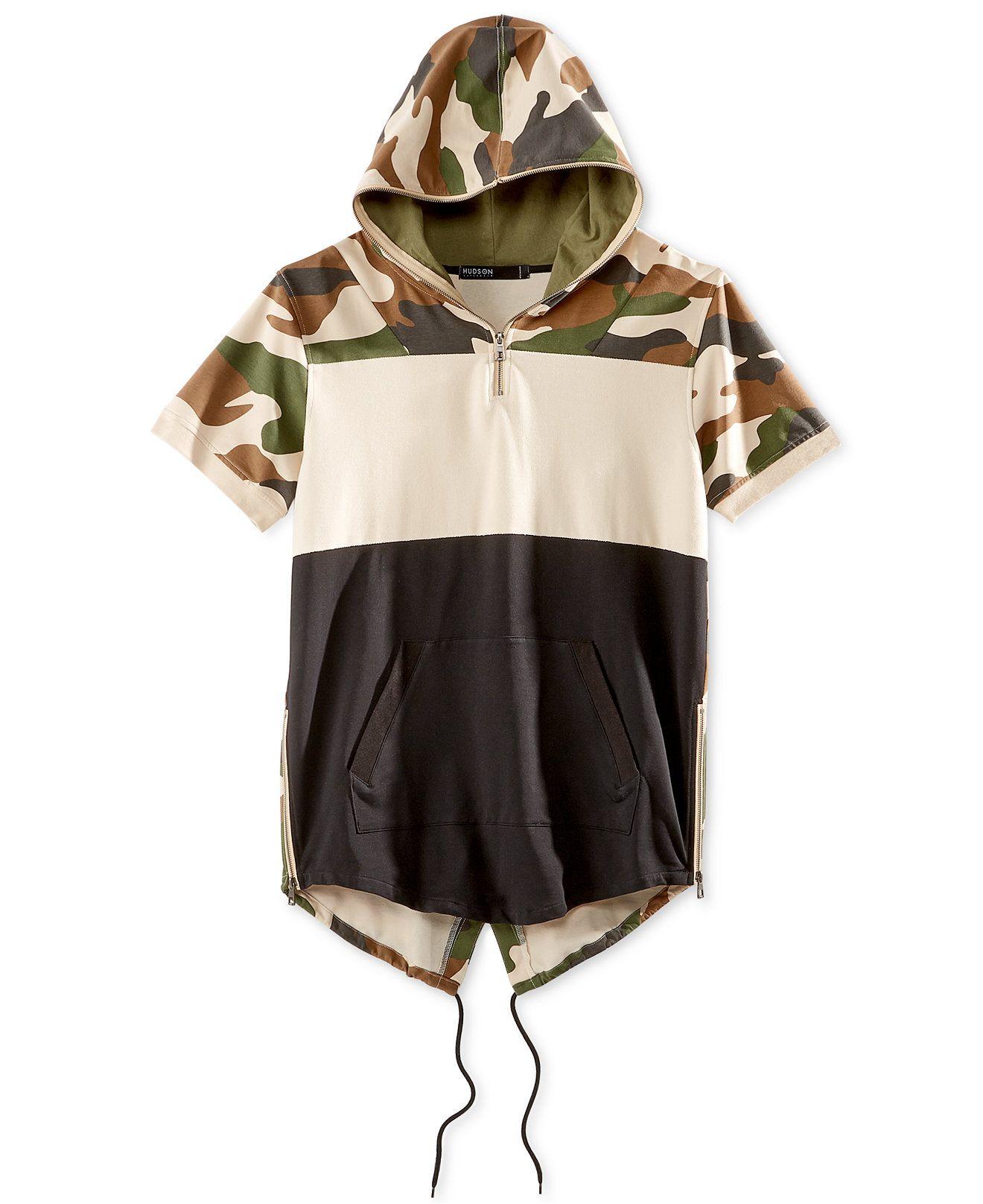Hudson NYC Men s Colorblocked Camouflage Short-Sleeve Fishtail Hoodie -  T-Shirts - Men - Macy s 6890c82eeb