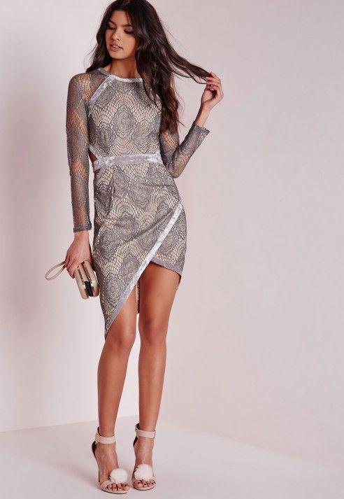 273127835ac6 Lace Binding Asymetric Midi Dress Grey Nude - Dresses - Midi Dresses -  Missguided