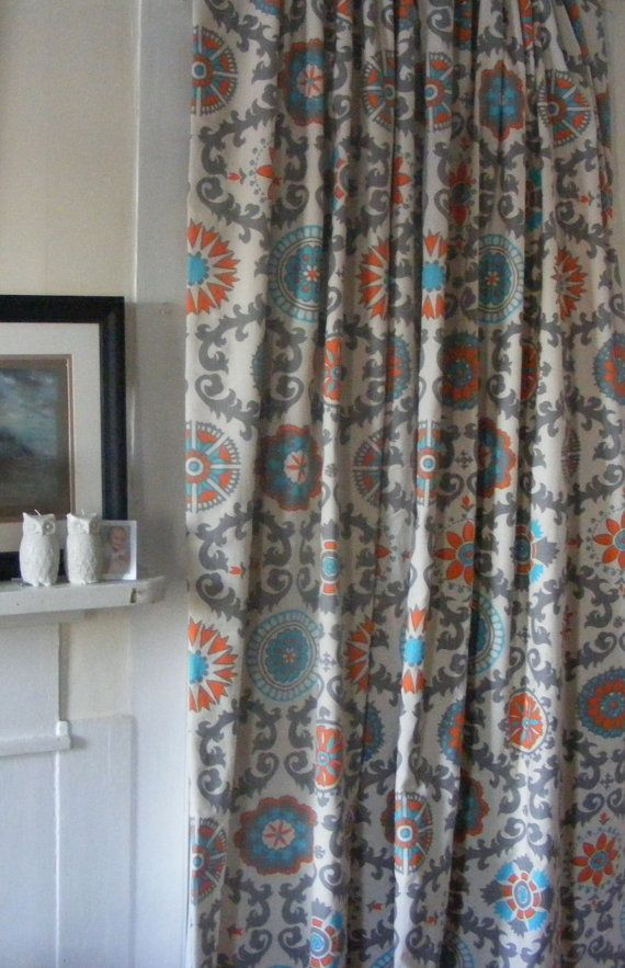 Blue Curtain Panels Pair Lined Orange Grey By Thepincushionstore