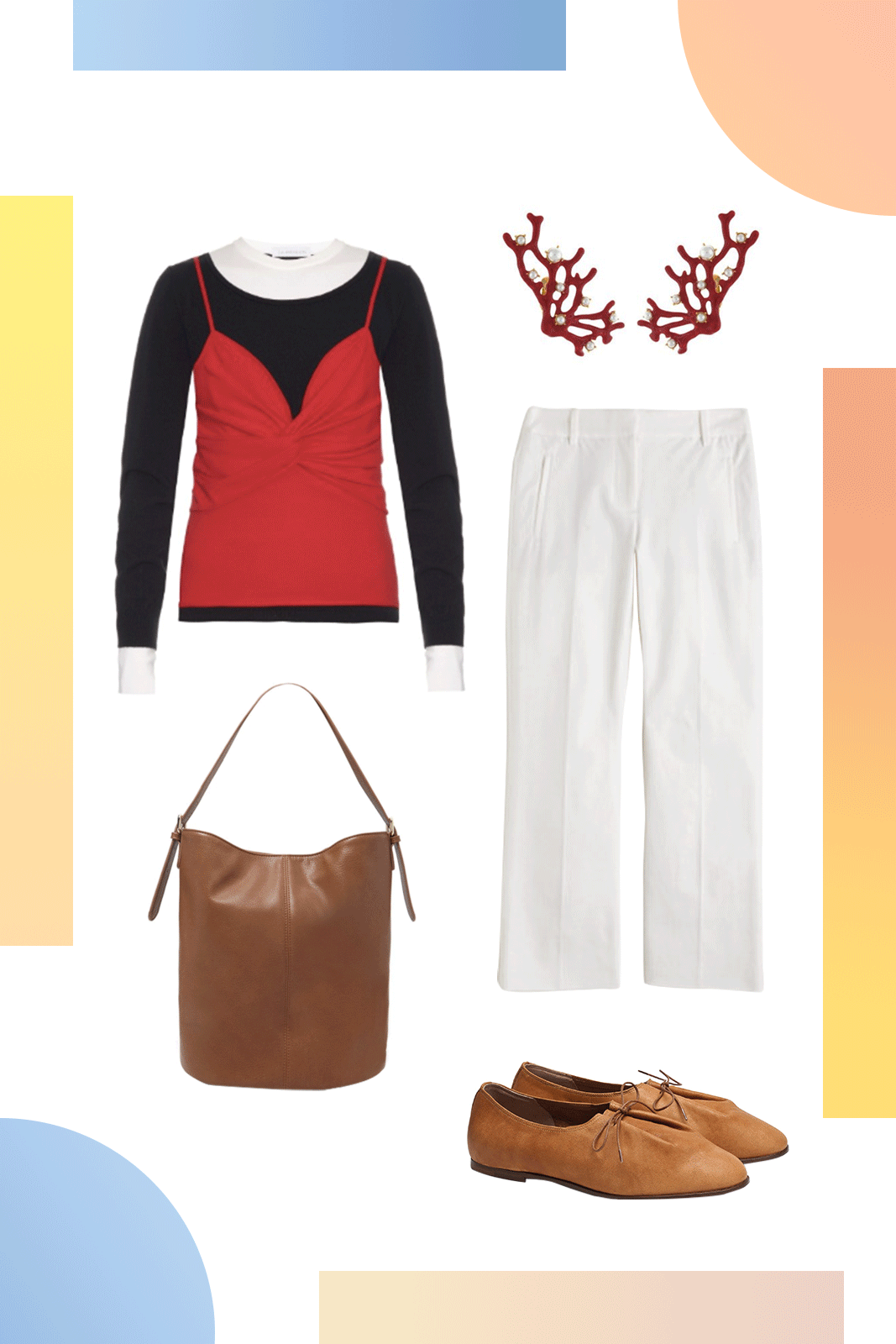 """The Cool Way To Dress Like A """"Mom"""" #refinery29  http://www.refinery29.com/mom-style#slide-1  Not-So-Soccer MomSwap your mom's twinset for this colorblocked J.W. Anderson sweater and pair it with classic white pants for a look you can wear on and off the bleachers.Kenneth Jay Lane Pearl and Coral Branch Clip On Earrings, $97.68, available at <a href=""""..."""