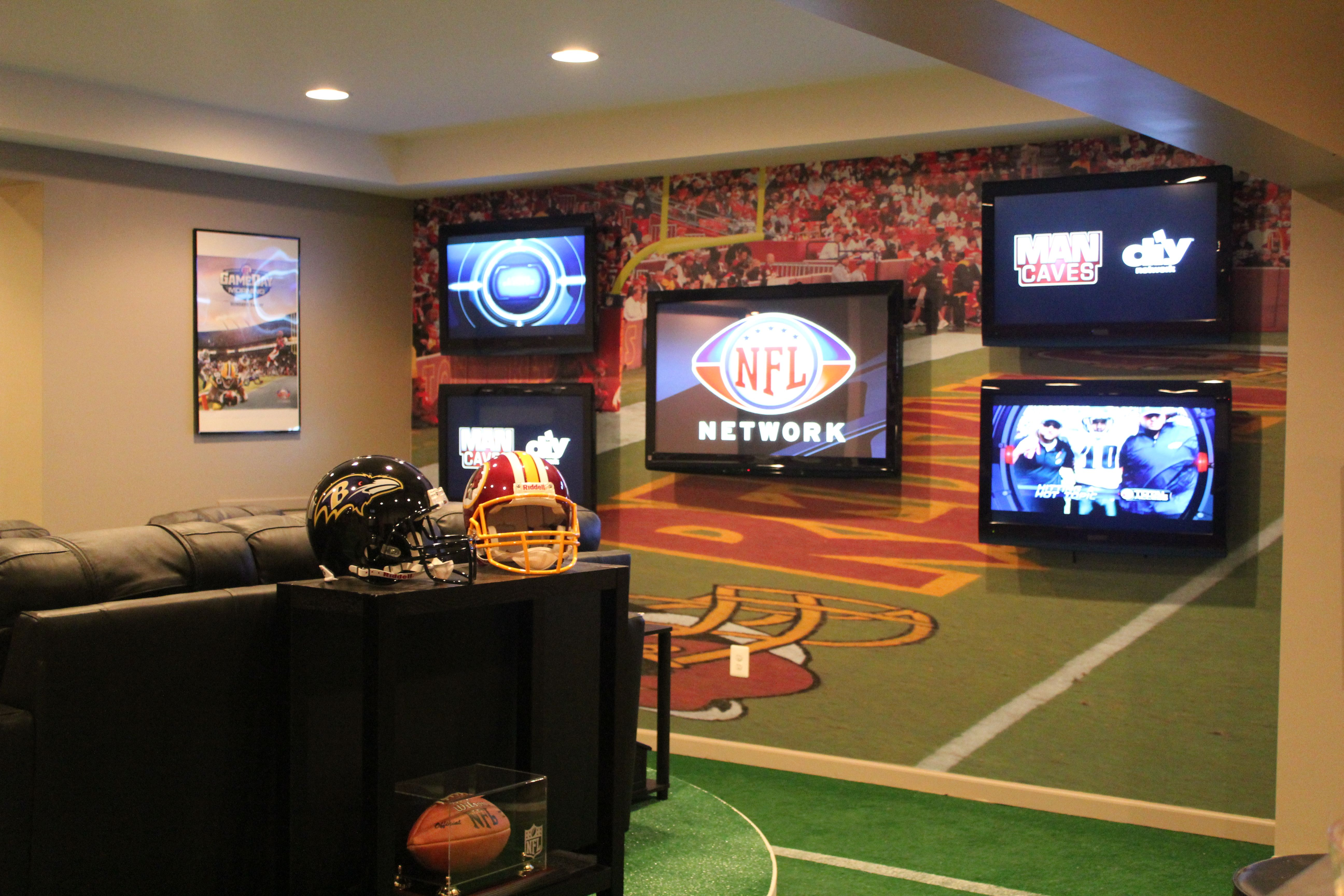 Custom Redskin Wallpaper Mural Used On Diy Network S Man Caves With Images Man Cave Football Man Cave Man Cave Wall