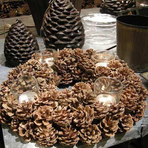 couronne centre de table pommes de pin 4 lumignons chehoma
