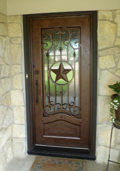 Texas star single door iron door your today just visite www take a look at our wrought iron door inspiration gallery where we proudly display our handiwork the most remarkable wrought iron front doors found in eventshaper