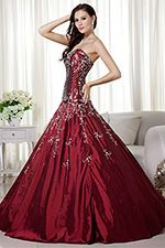 Burgundy Puffy Sweetheart Taffeta Embroidered Long Ball Gown - US$252.99 - Style BG0303 - BigBallGowns