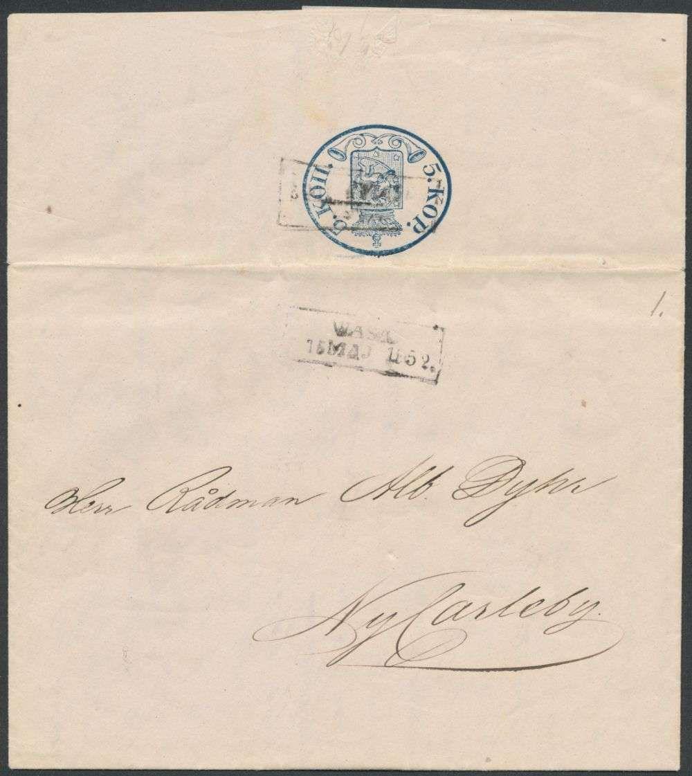 Finland Postal Stationery 1850 5 Kop Private Stationery Sheet Londier White Thin Paper Fine Wasa 52 Rare Ex Faberge L 6 C Briefmarken Finnland Auktion