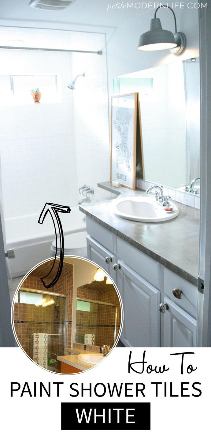 How To Paint Shower Tiles White Petite Modern Life Painted Shower Tile White Tile Shower Shower Tile