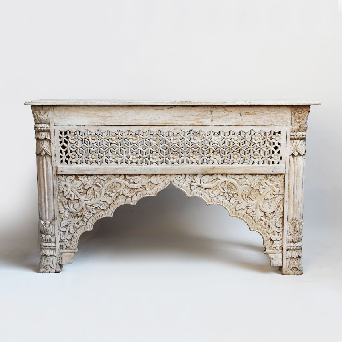 Superbe White Wash Carved Wood Architectural Console Table.