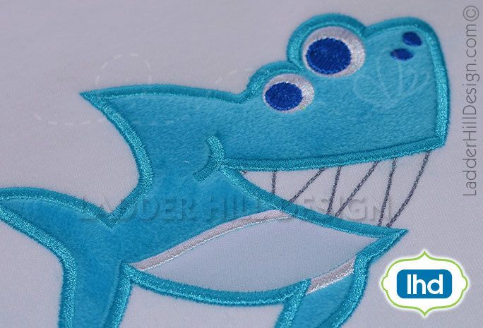 Shark applique embroidery design smiling shark applique summer