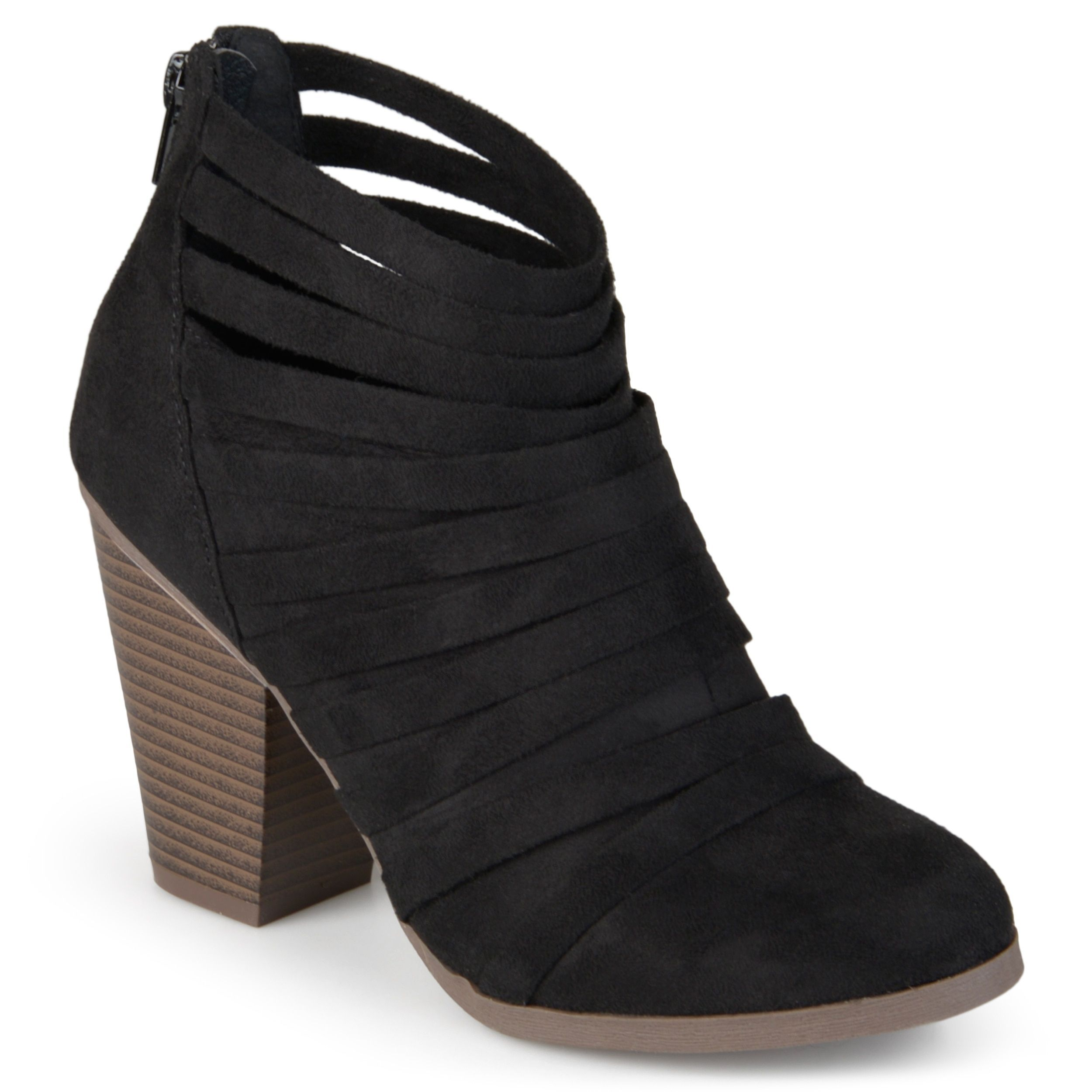 e62f3ca56 Journee Collection Women's 'Selena' Faux Suede Strappy Ankle Booties (Black-  11), Black