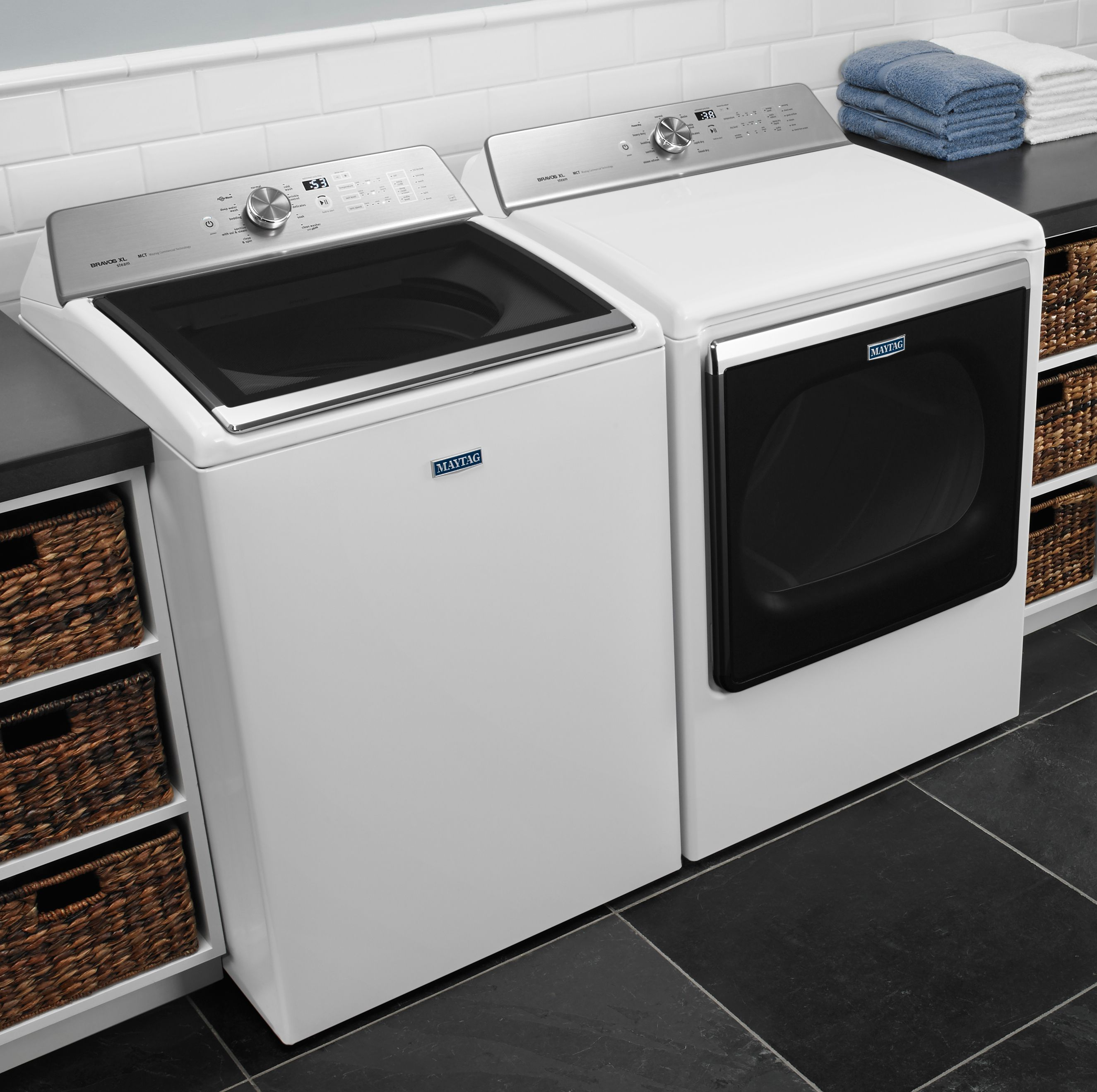 Make Light Work Of Heavy Laundry Loads With This Maytag Bravos Gas Steam Dryer When Paired With The Coordin Steam Dryer Steam Washer Maytag Washer And Dryer