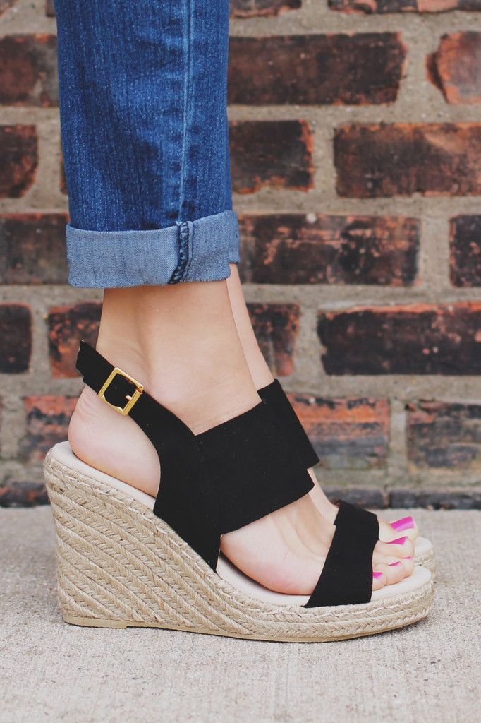 f21ca5f6cde Black Adjustable Buckle Two Strap Wedge Knox-01
