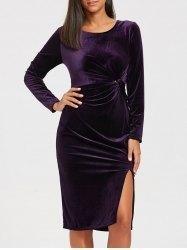 #Gamiss - #Gamiss High Slit Velvet Midi Dress - AdoreWe.com