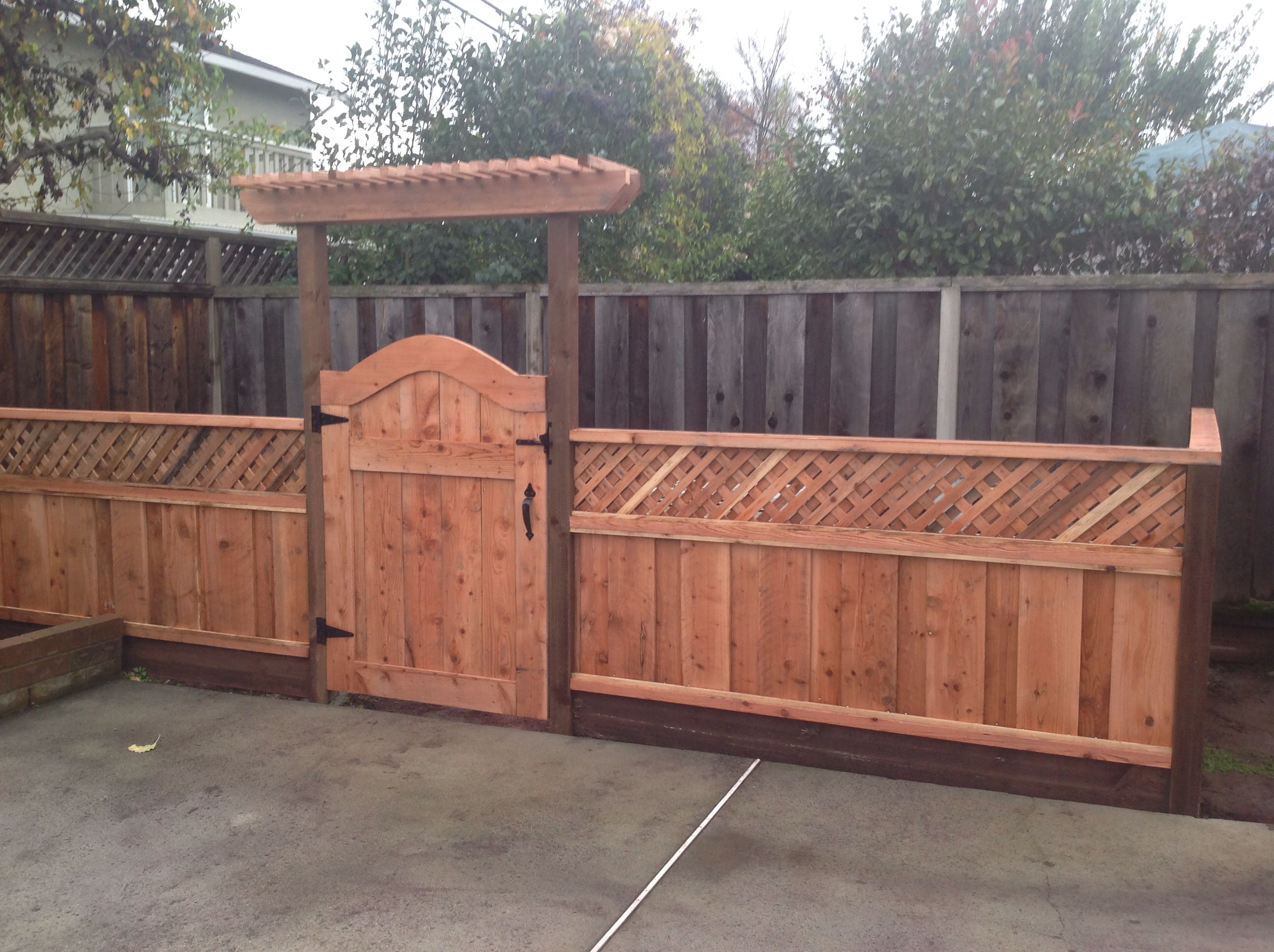 After: Pool Equipment Fence With Gate And Small Arbor, Which Camouflages  The Pool Pump