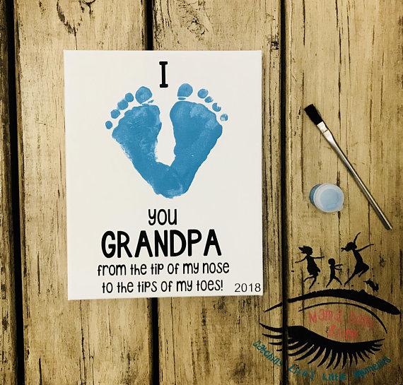 I Love Grandpa, Toddler Footprint Art, Baby Footprint Art, Gift for Grandpa, Father's Day, Grandparent's Day, Mama Don't Blink #grandpagifts