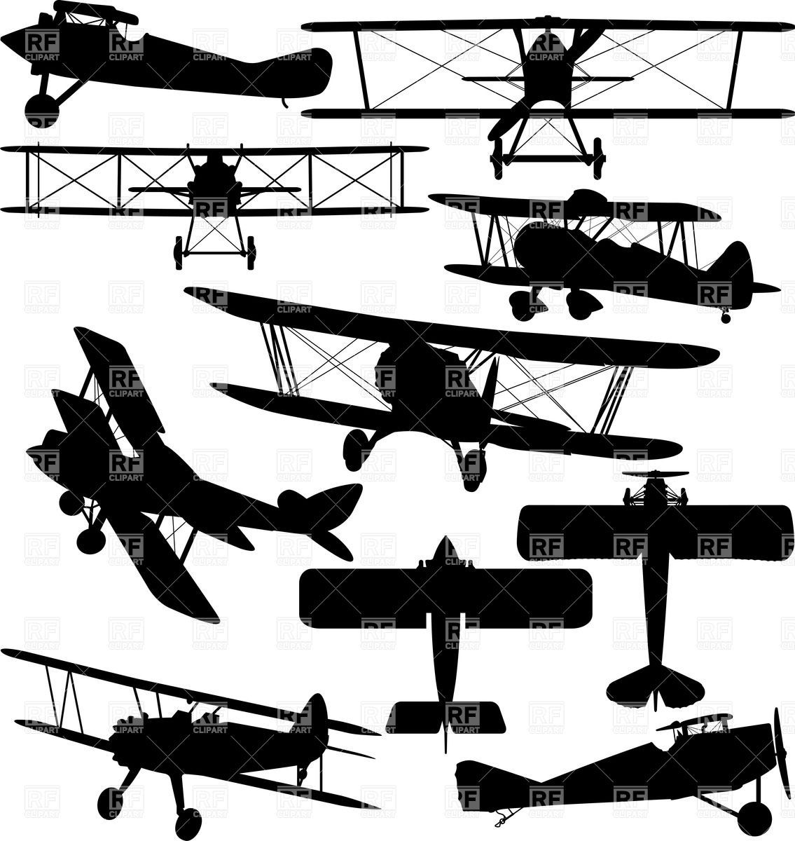 Silhouettes Of Old Aeroplane