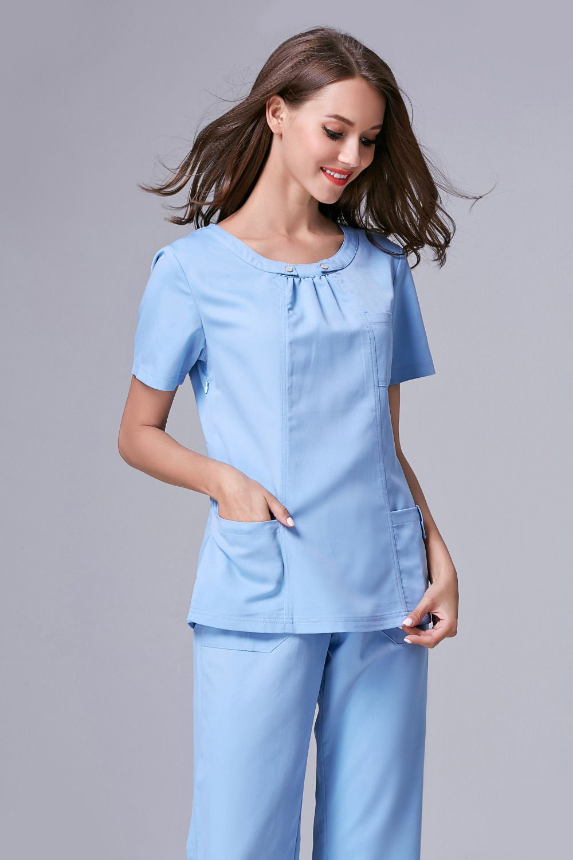 2015 Rushed Medical Suit Lab Coat Women Hospital Medical Scrub Clothes Uniform Fashion Design Slim Fit Breathable Whole Sale