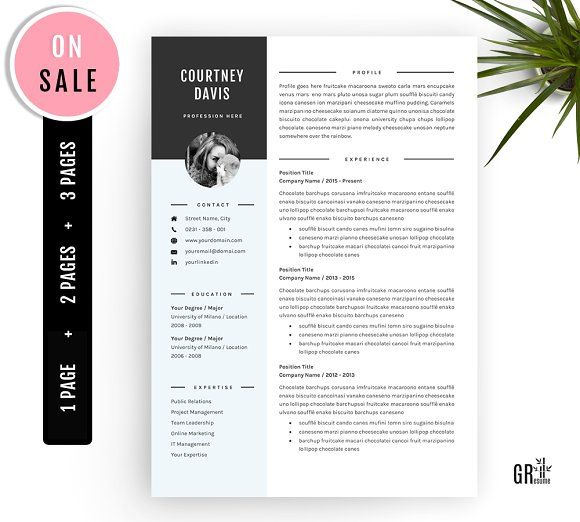 3 Pages Resume template CV Template Pinterest Cv template