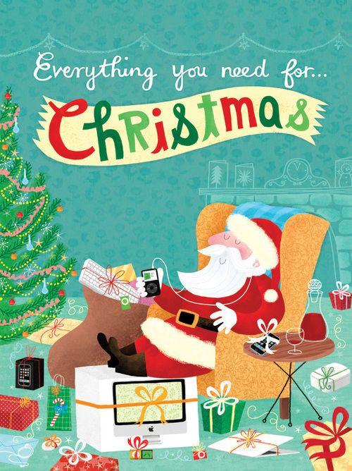 Everything You Need For Christmas Christmas Card Illustration Christmas Illustration Vintage Christmas Cards