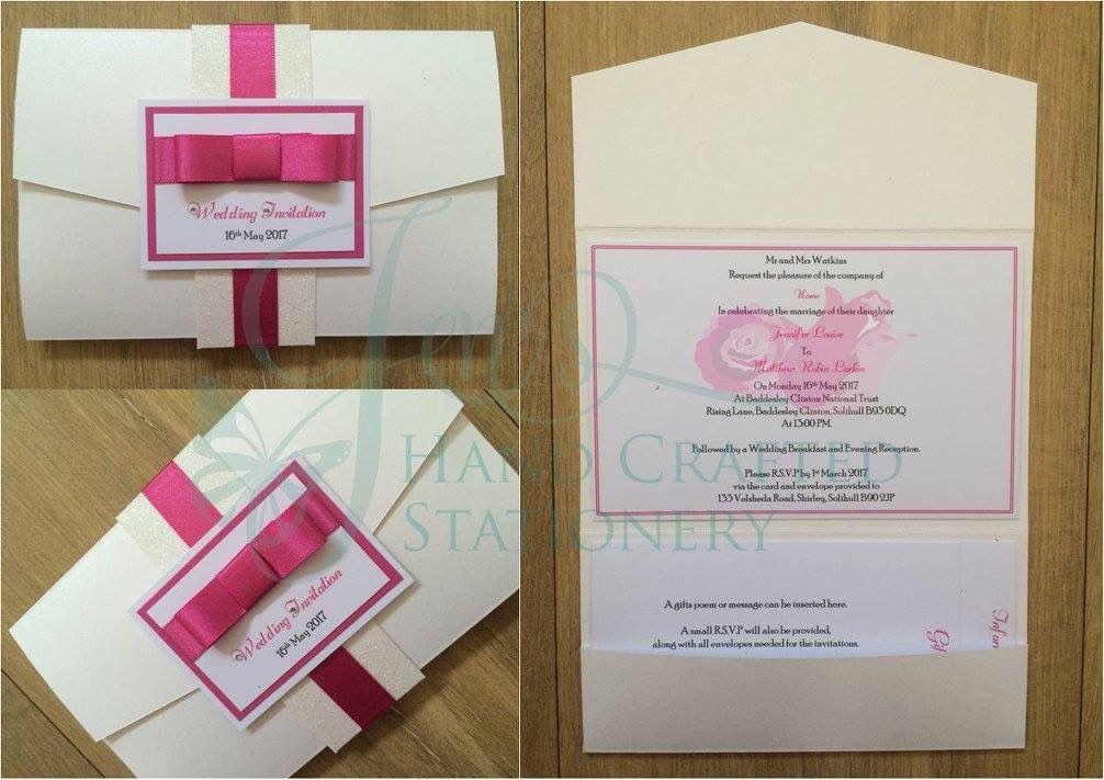 White Glitter Belly Band Pocket Fold Invitation With Hot Pink Ribbon Www Jen Pocket Wedding Invitations Pocketfold Invitations Pocket Fold Wedding Invitations