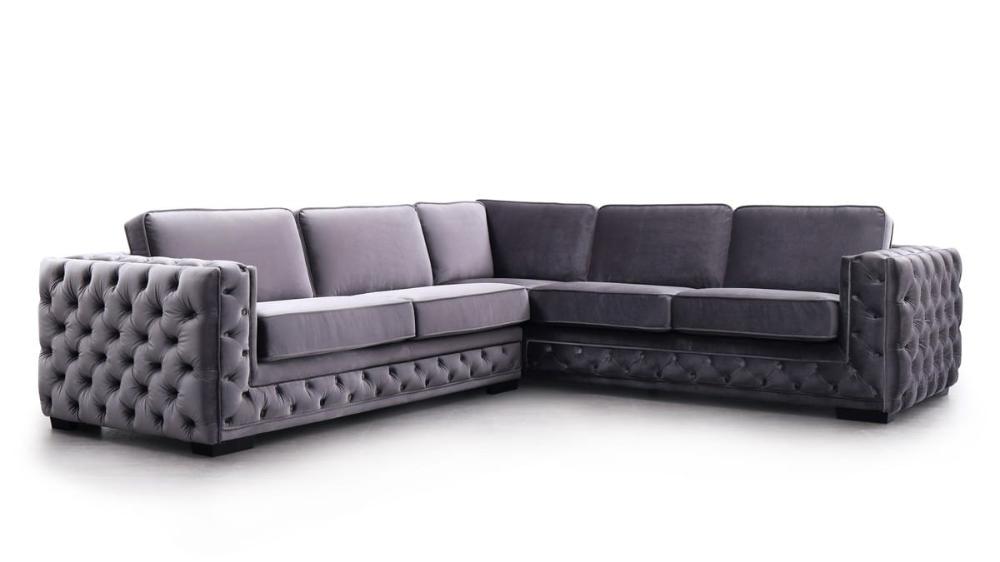 Divani Casa Jean Modern Grey Velvet Sectional Sofa By Vig