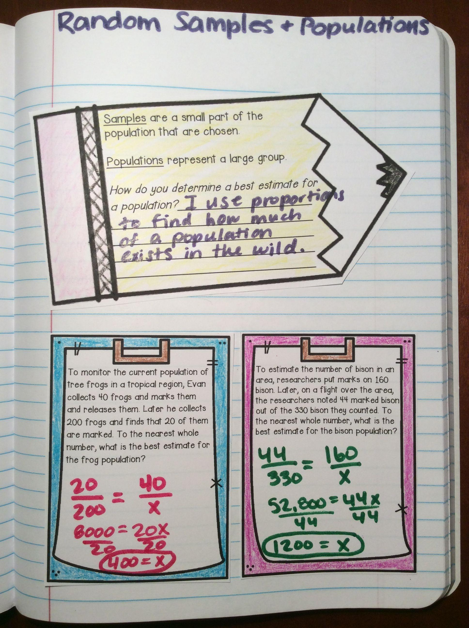 Random Samples And Populations Activities Math Interactive Notebook High School Math Activities Math Interactive