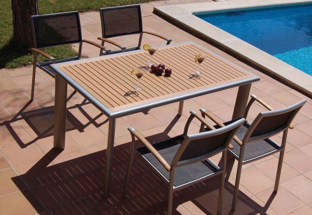 Resina mesa para exterior fija de bamb blau rectangular estructura de aluminio y sobre de - Mesas de exterior de resina ...