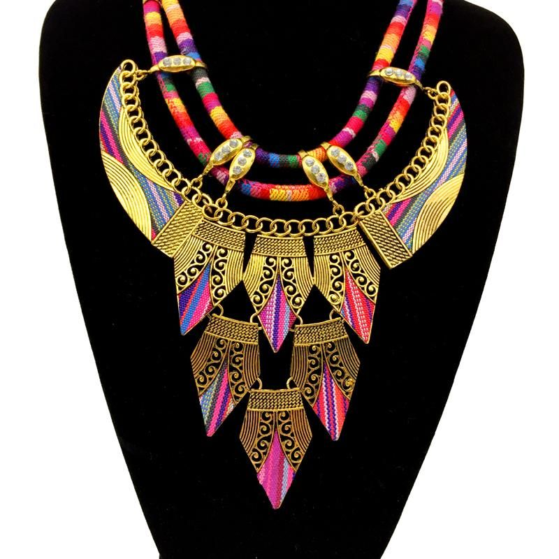 Gold Tribal Choker Necklace