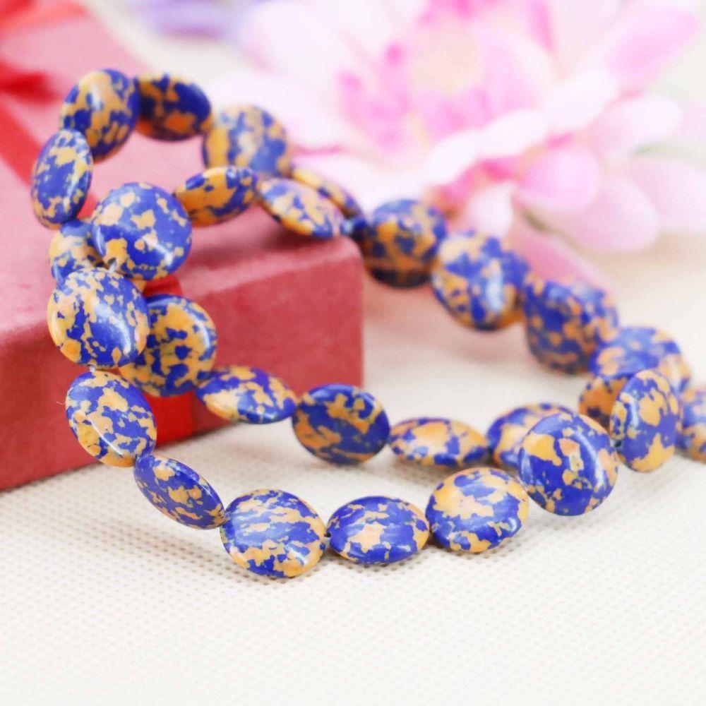 Mm prevalent blue wintersweet turkey stone abacus loose diy beads